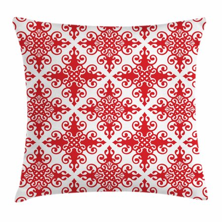 Red Throw Pillow Cushion Cover, Western Style Floral Scroll Motif Swirled Lines Antique Royal Ornament with Framework, Decorative Square Accent Pillow Case, 16 X 16 Inches, Red White, by Ambesonne