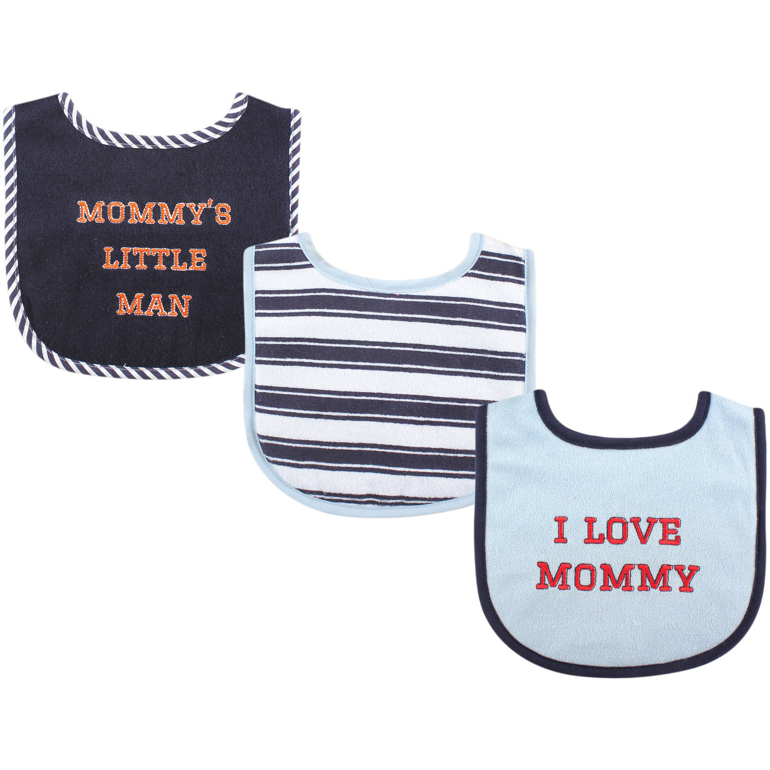 Luvable Friends I Love Drooler Bib, 3pk, Boy Mommy