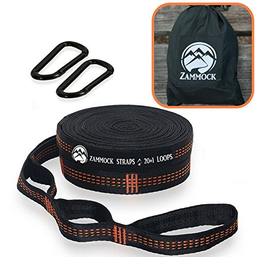 Adjustable Tree Hammock Straps with Extra Set of Steel Carabiners for Camping