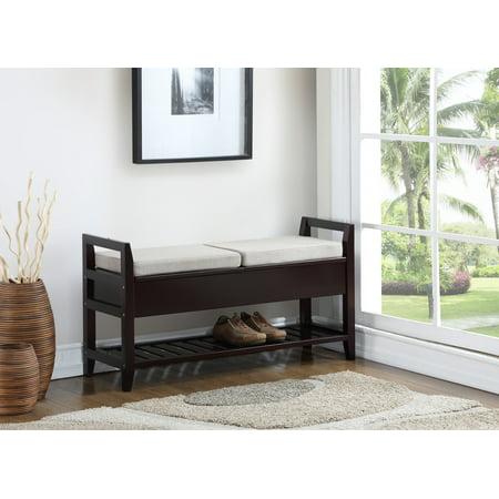 Furniture Storage Bench (Roundhill Furniture Vannes Espresso Storage Shoe Bench )