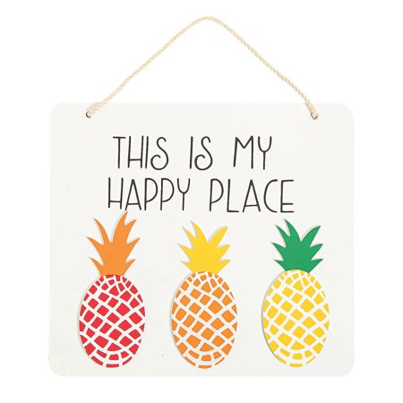 Fun Express - Happy Place Pineapple Sign - Home Decor - Decorative Accessories - Wall Decor - 1 Piece (Planet Earth Peace Sign)