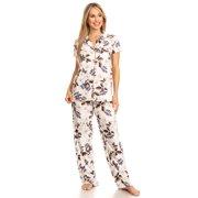 Womens Sleepwear Pajamas Set Woman Short Sleeve Button Down set