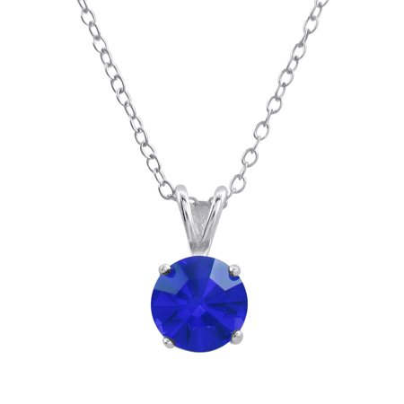 Sterling Silver Basket Set 8Mm Crystal Birthstone Pendant Necklace September   Sapphire