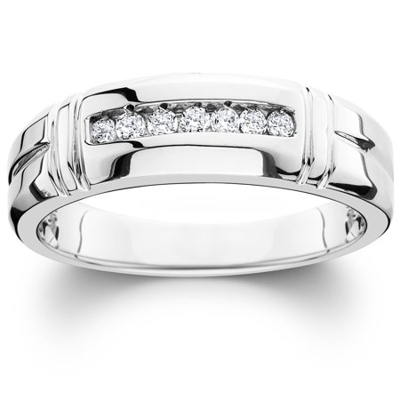 1/4ct Channel Set Diamond Ring 14K White Gold Mens Wedding Band