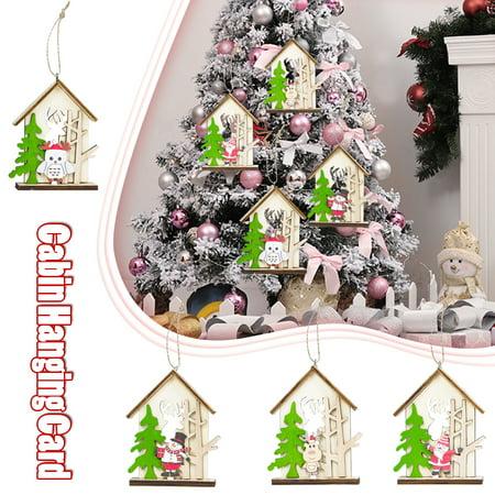 Christmas Tree Pendant Christmas Snowman Elk Log Cabin Hanging Card Shopping Mall Christmas Decoration Pendant Home Santa Claus Decor