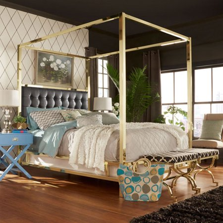 Adora black glam gold canopy bed for Gold canopy bed frame