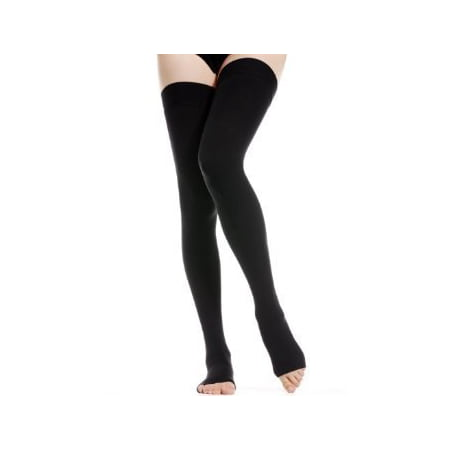 BriteLeafs Opaque Compression Stockings Thigh High Firm Support 20-30 mmHg, Open Toe - Gradient Compression - Large,