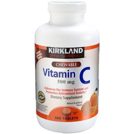 Kirkland Vitamin C  500 Mg   500 Count  Tangy Orange  Chewable Tablets