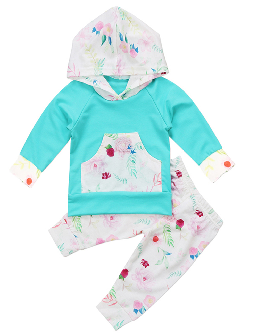 Newborn Baby Boy Girl 2pcs Outfit Long Sleeve Hoodie with Check Pocket Tops Plaid Long Pants Clothes