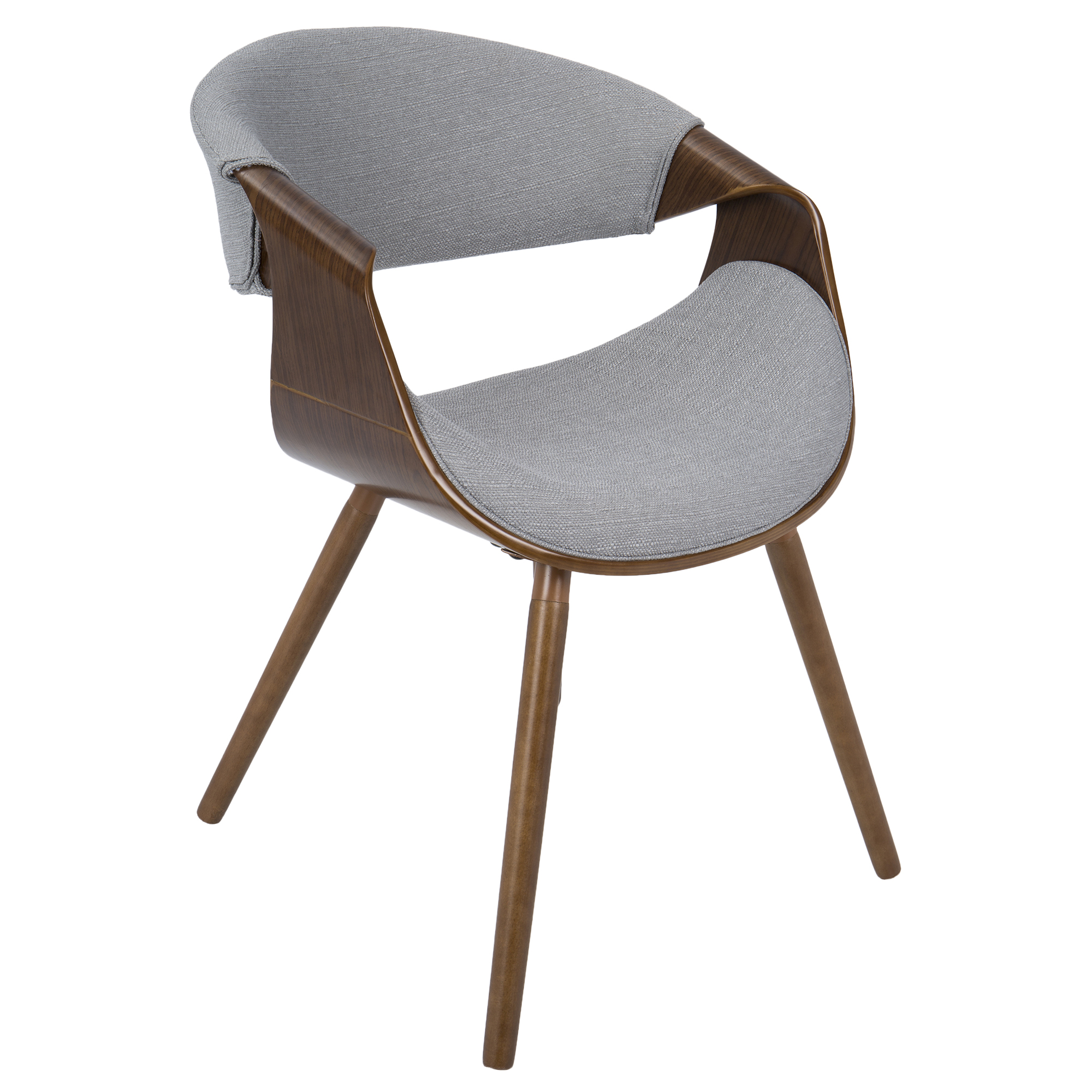 Curvo Mid-Century Modern Dining/Accent Chair in Walnut and Grey Fabric by LumiSource