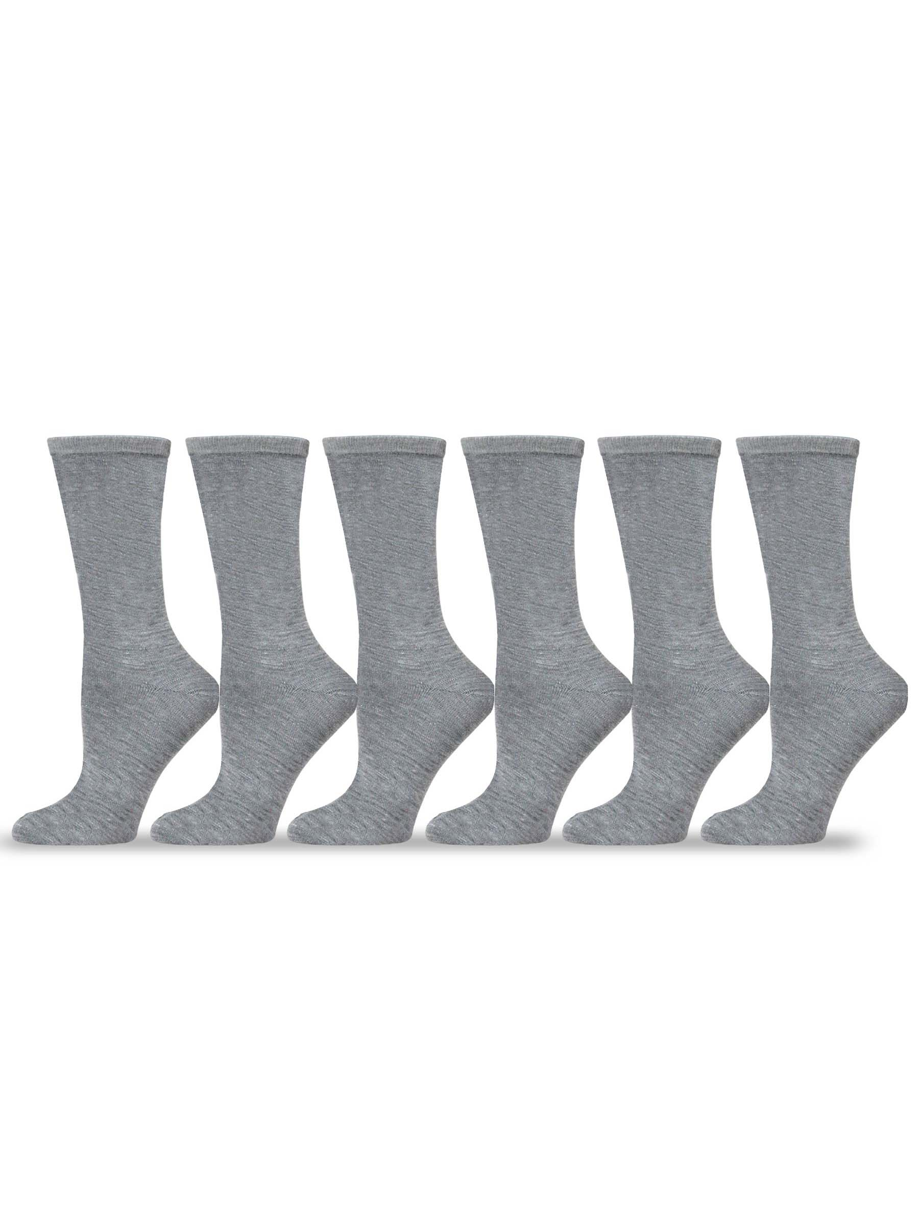 TeeHee Women's Ladies Value 6-Pack Crew Socks (Grey)