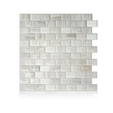 Smart Tiles 9.80 in x 9.74 in Peel and Stick Self-Adhesive Mosaic Backsplash Wall Tile - Ravenna Fabro (each) ()