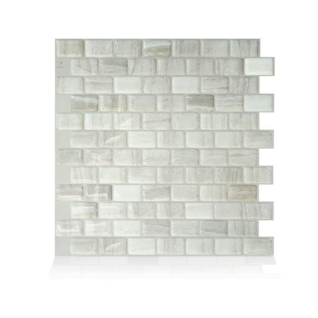 Smart Tiles 9.80 in x 9.74 in Peel and Stick Self-Adhesive Mosaic Backsplash Wall Tile - Ravenna Fabro (each) 0.875' Glass Mosaic Tile