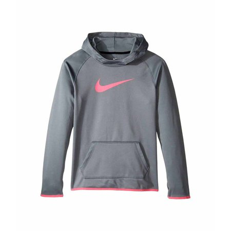nike youth girls therma fit pullover hoodie grey pink. Black Bedroom Furniture Sets. Home Design Ideas