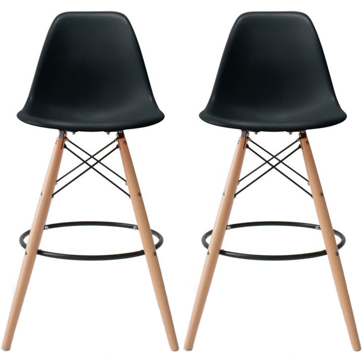 "2xhome - Set of 2 25"" Seat Height Modern Chair Plastic Bar Stool Counter Stools With Back Eiffel Chairs Natural Wood Legs Black"