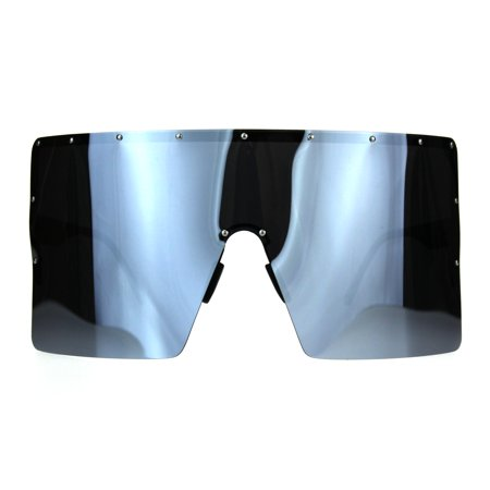 Extra Large Face Mask Color Mirror Futuristic Sunglasses Black Silver (Sunglasses For Large Faces)