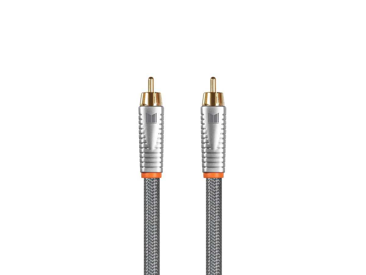 24K Gold-Plated Connectors Oxygen-Free Solid Core Conductors Monolith Digital Coaxial M//M Audio Cable 18AWG with Nylon Braided Jacket 2 Meter