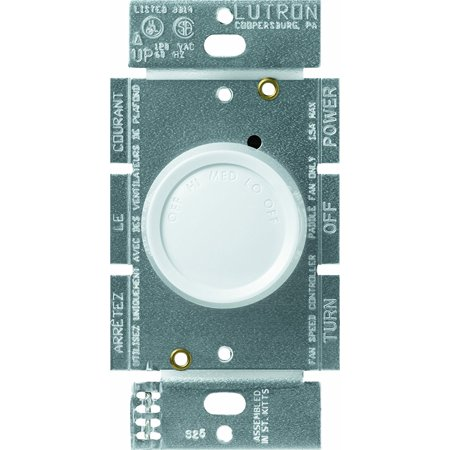 FSQ-2F-WH Rotary 1.5-Amp Single Pole 3-Speed Fan Control, White By Lutron Ship from
