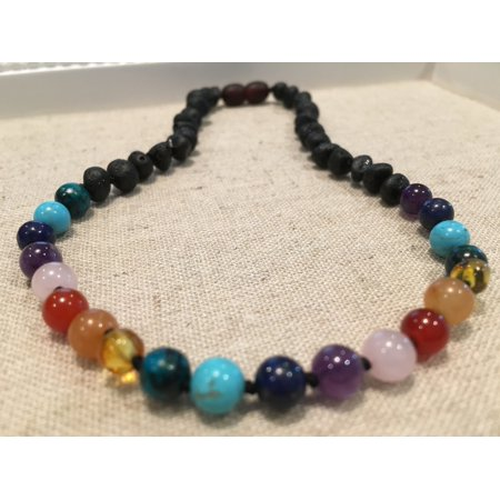 Rainbow Aura Quartz - Half Amber - 12.5 inch Baltic Amber Necklace Rainbow Raw Pink Rose Quartz Agate Amethyst Chrysocolla Toddler