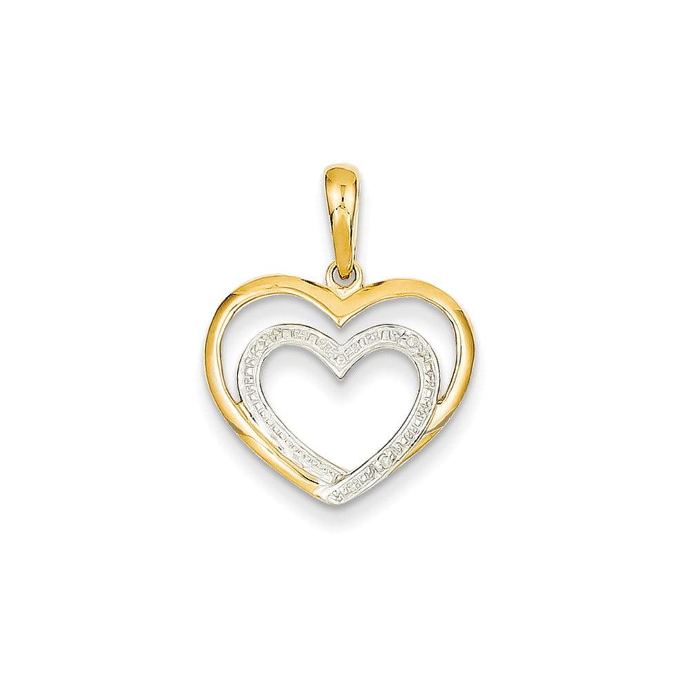 14k Yellow Gold & Diamond & Rhodium Double Heart Pendant