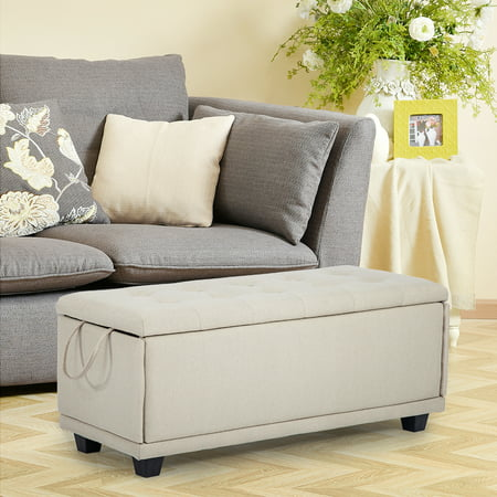 - Storage Ottoman Bench Footrest Bench Stool Bedroom Bench Storage Bed Bench Upholstered Linen Fabric Tufted 42