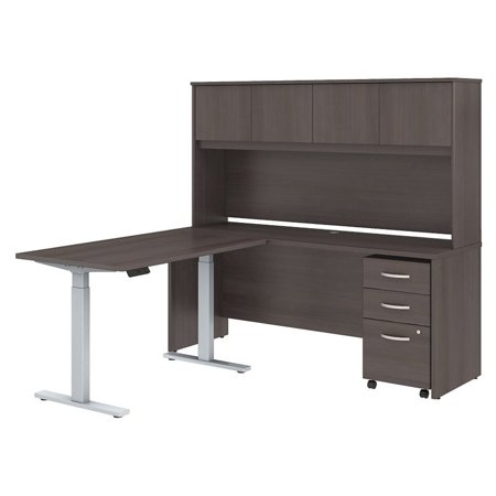 Astonishing Scranton Co 72 L Shaped Desk With Hutch And File Cabinet In Gray Download Free Architecture Designs Intelgarnamadebymaigaardcom