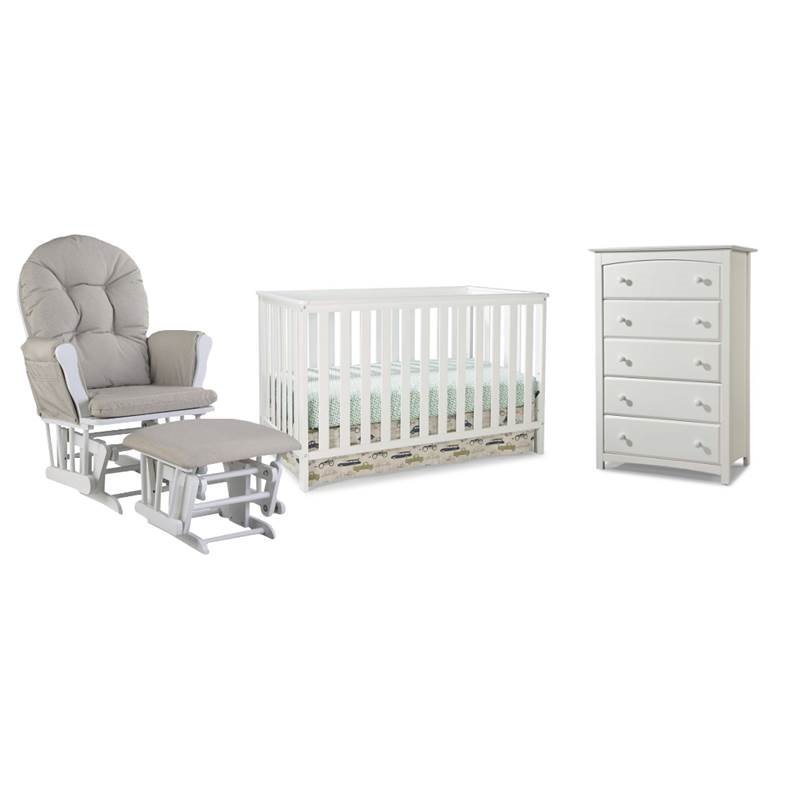 4 Piece Nursery Furniture Set with Rocker, Ottoman, Crib, and Chest in White by Home Square