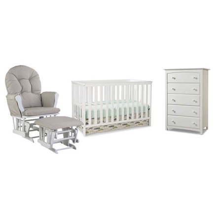 4 Piece Nursery Furniture Set With Rocker Ottoman Crib And Chest In White