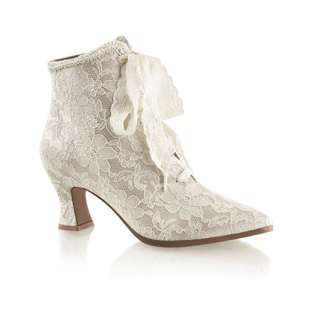 Womens Champagne Lace Wedding Boots with 2.75 Inch Low Heel and Lace Up Front ()