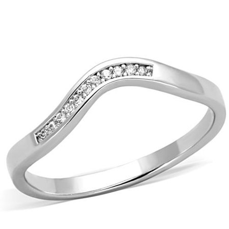 .06 CT CUBIC ZIRCONIA STAINLESS STEEL CURVED Band PROMISE RING WOMEN'S Size 10