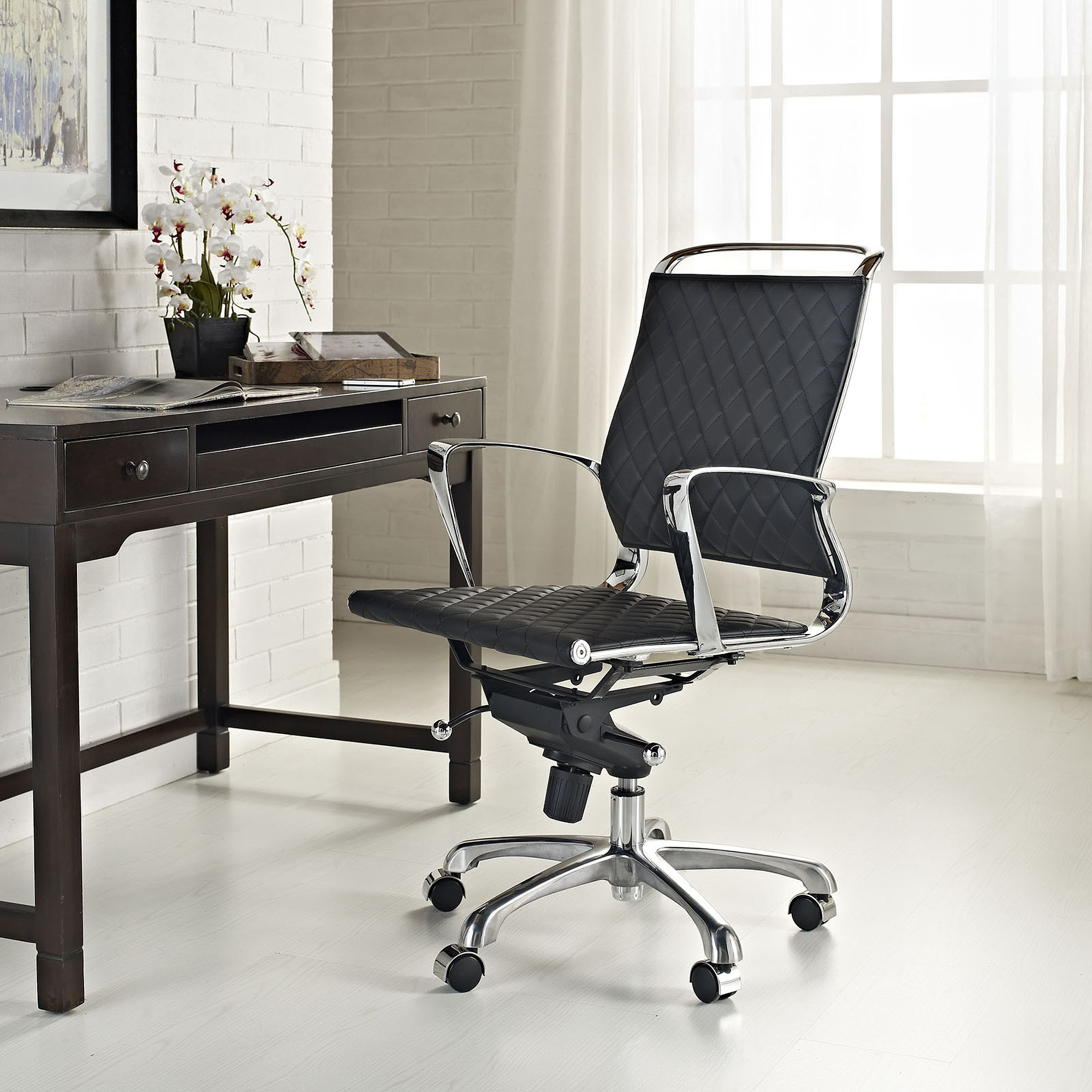 Modway Vibe Mid Back Leather fice Chair Multiple Colors