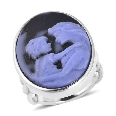Porcelain Cameo Ring - Cocktail Ring Stainless Steel Oval Cameo Gift Jewelry for Women