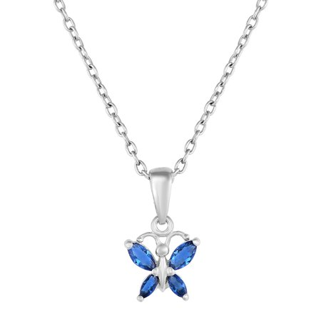 Butterfly Pendant in Sterling Silver with Simulated CZ Birthstone for Girls with 18