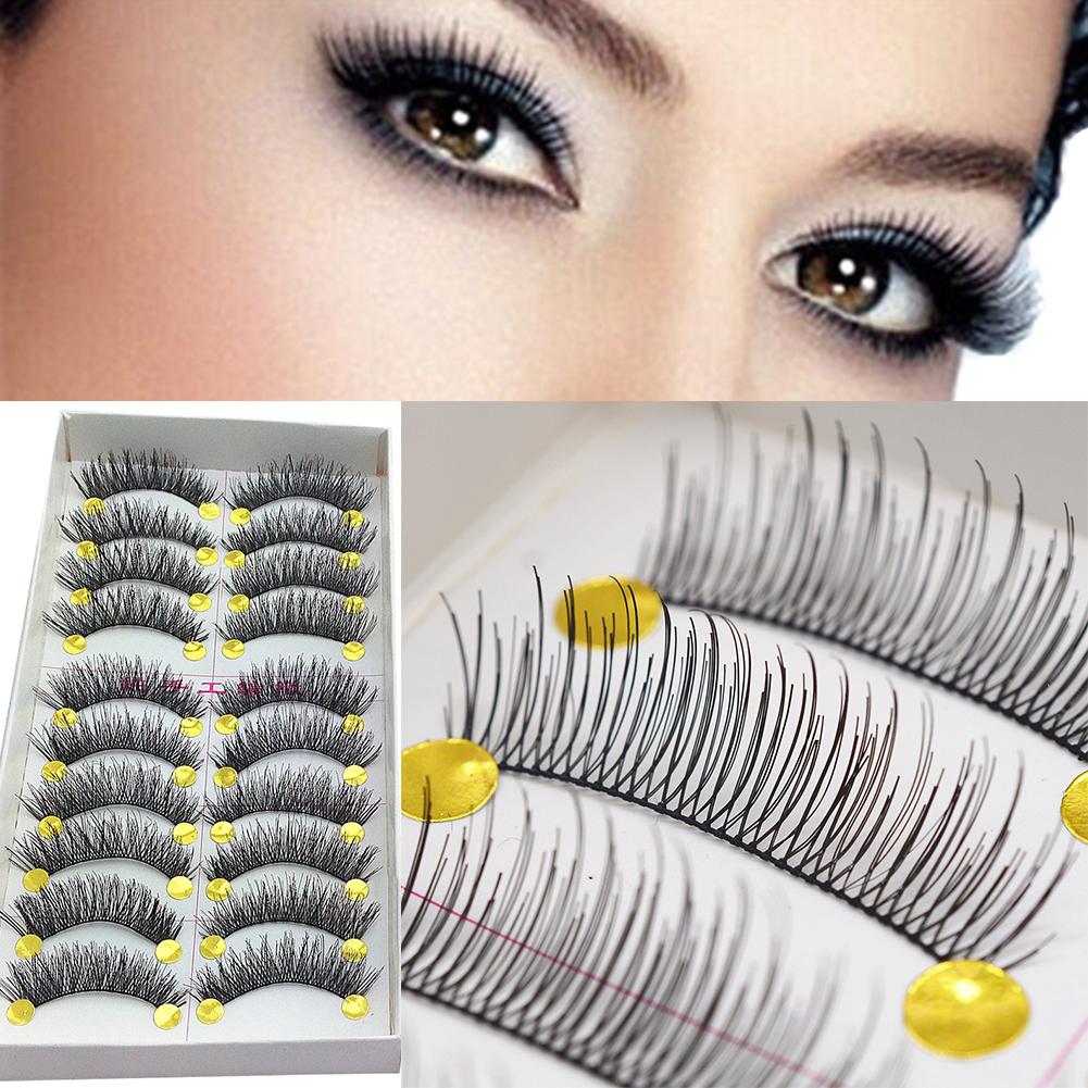 Micelec 10 Pairs Thick Crossing Long Natural Looking Fake Eyelashes