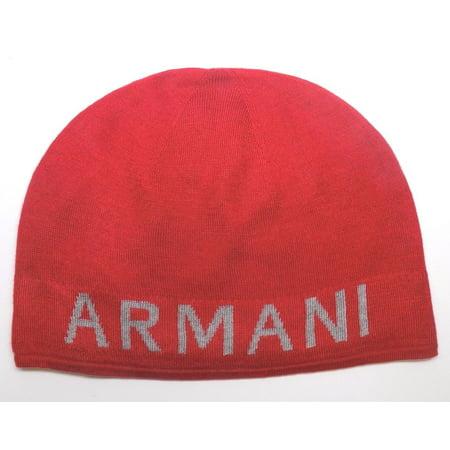 BRAND NEW MEN'S ARMANI EXCHANGE A|X KNIT RED GRAY REVERSIBLE BEANIE HAT CAP (Caps Armani Exchange Black)