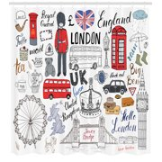 Doodle Shower Curtain, I Love London Double Decker Bus Telephone Booth Cab Crown of United Kingdom Big Ben, Fabric Bathroom Set with Hooks, Multicolor, by Ambesonne