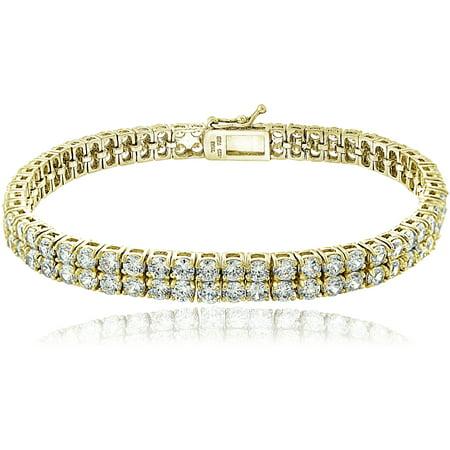 Cubic Zirconia 18kt Gold over Silver Double Row Tennis Bracelet Double Row Oval Bracelet