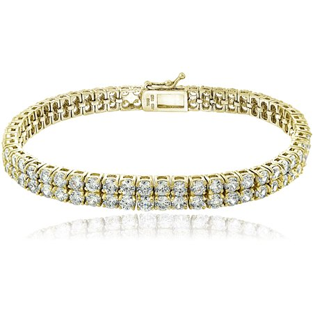 Cubic Zirconia 18kt Gold over Silver Double Row Tennis