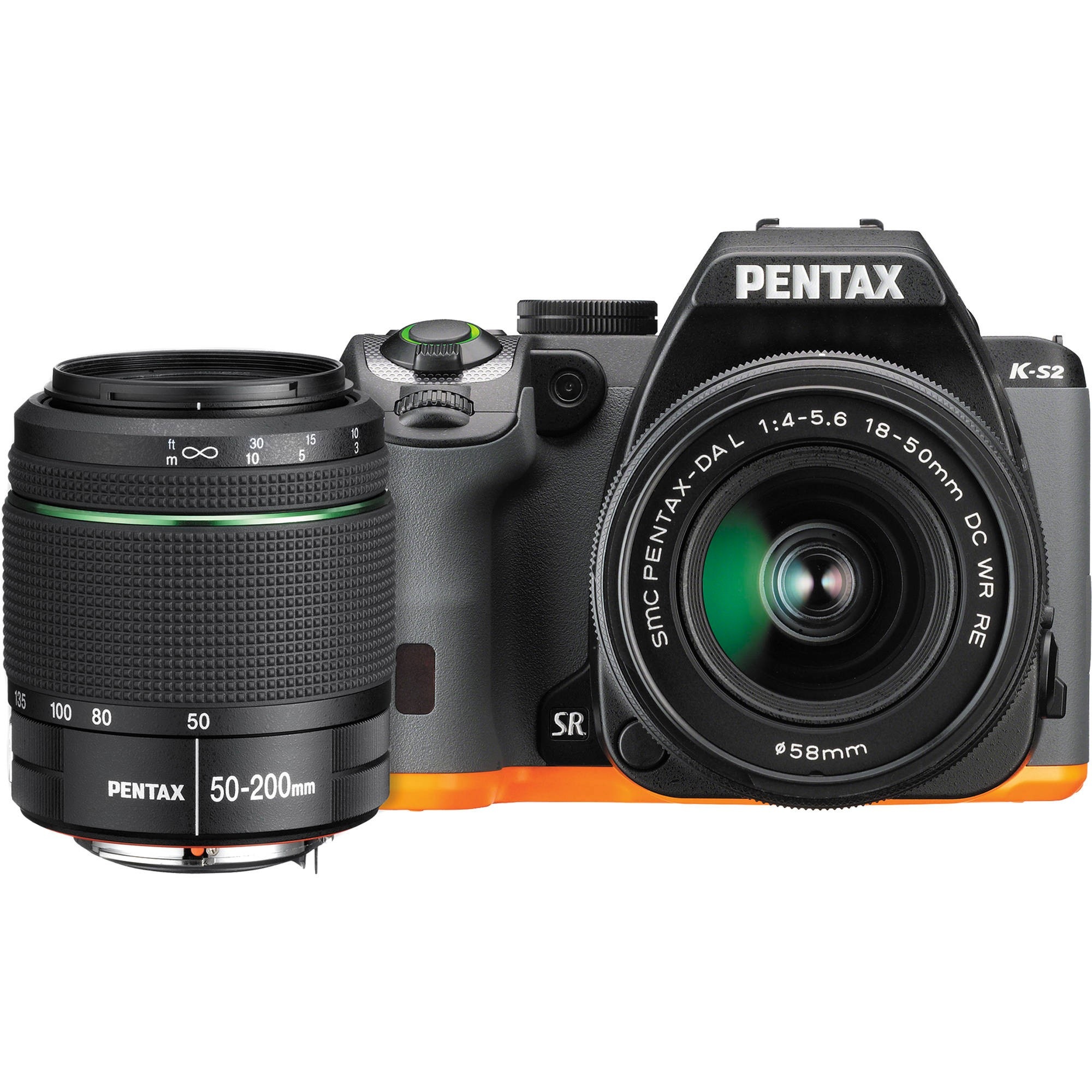 PENTAX 13218 20.0 Megapixel K-S2 Digital SLR Camera (WZoom; Black & Orange)