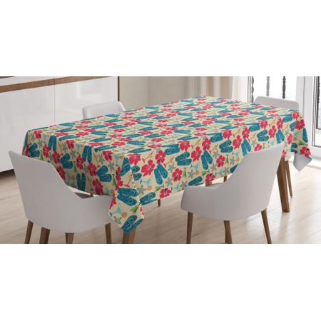 Flip Flop Tablecloth, Exotic Summer Icons Hibiscus Flower Starfishes Martini Cocktail and Beach Sandals, Rectangular Table Cover for Dining Room Kitchen, 60 X 84 Inches, Multicolor, by Ambesonne - Hibiscus Cocktail
