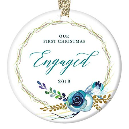 Shabby Chic Engagement Christmas Ornament 2018 Our First Christmas Engaged Couple Man & Woman Boho Floral Wreath Country Decorations Ceramic Present 3
