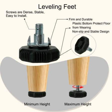 M8 x 20 x 38mm Leveling Feet Adjustable Leveler Protector for Chair Leg 12pcs - image 6 of 8