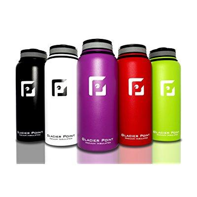best vacuum insulated stainless steel water bottle (32 oz). double walled construction. powder coat. glacier point... by