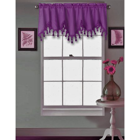 "(WAVE) PURPLE   1PC Elegant Faux Silk Rod Pocket Swag Waterfall Ascot Dressing Valance with Tassels, 55"" X 18"" Inch"