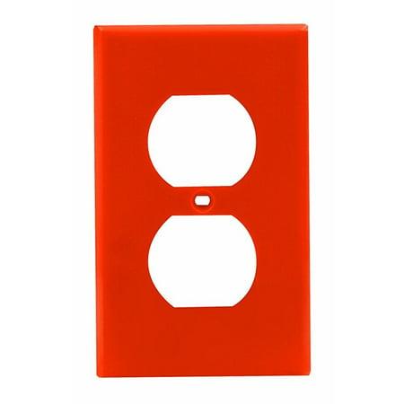 Leviton 80703-ORG 1-Gang Duplex Device Receptacle Wallplate, Standard Size, Orange