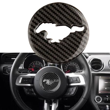1 Pc Brand New Carbon Fiber Steering Wheel Decor Trim Sticker Cover Cap For Ford Mustang 15-17 Carbon Fiber Gas Cap