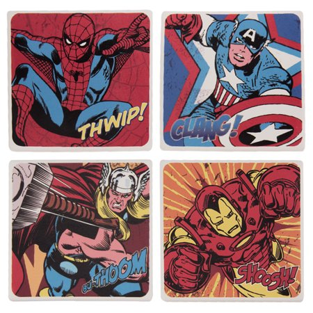 Vandor LLC Marvel Comics 4 pc. Ceramic Coaster Set
