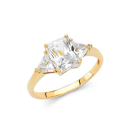 14K Solid Gold Polished 2.00 cttw Rectangle Cubic Zirconia Wedding Engagement Ring wuth Side Stones, Size 6.5