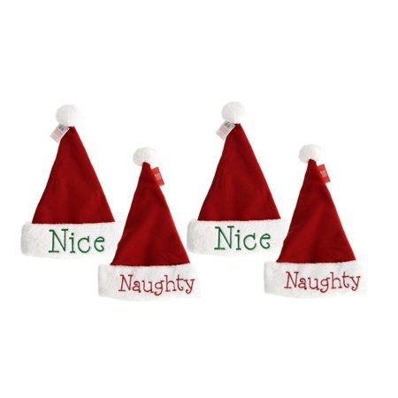 Naughty or Nice Santa Hats, Festive Holiday Christmas Hats with Hand Stitched Naughty in Red on one side and Nice in Green on the other, Reversible