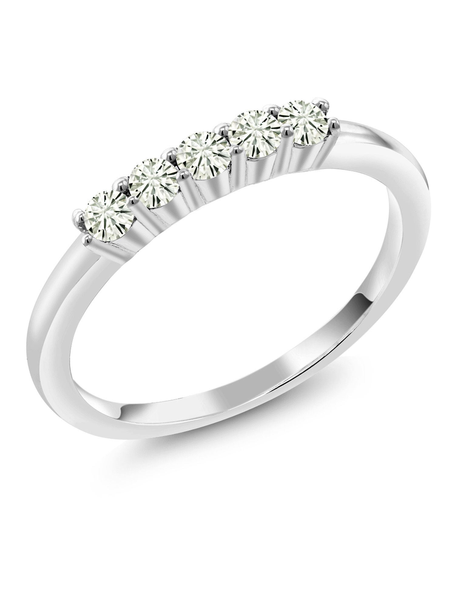 10K White Gold 5 Stone Ring Forever Classic Round Created Moissanite 0.50ct DEW